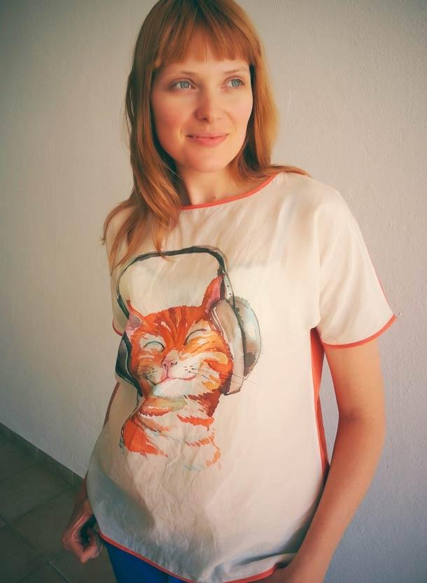 Batik Design Happy cat, t-shirt des...