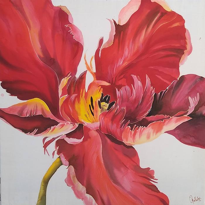 Red flowers silk painting mightylinksfo